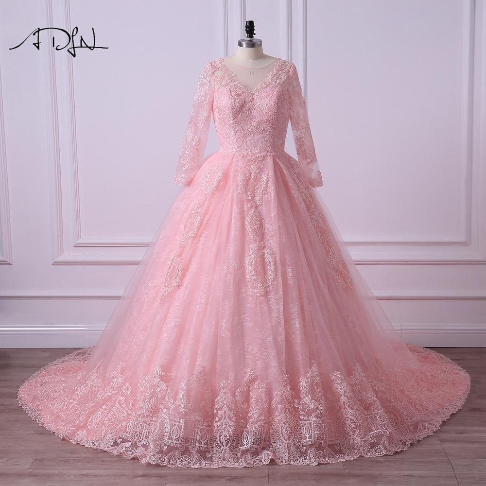 ADLN Long Sleeve Colored Wedding Dress Scoop Aline Arabic