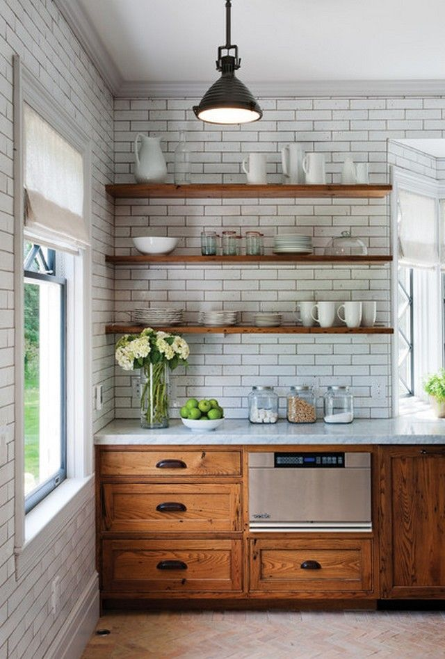 Industrial kitchen cabinetry rustic with white subway tiles polished multiuse also chestnut lower cabinets  hate open shelving but picture that