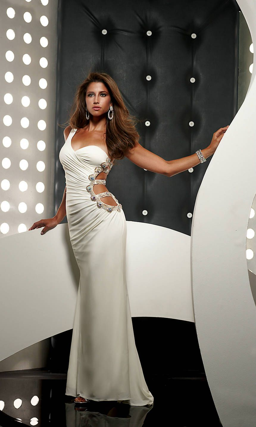 Side Cut Out Jersey Floor Length One Shoulder Sweetheart White Prom ...