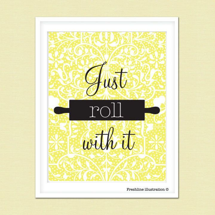 Kitchen Wall Art Funny Kitchen Art Quote Just Roll by Freshline ...
