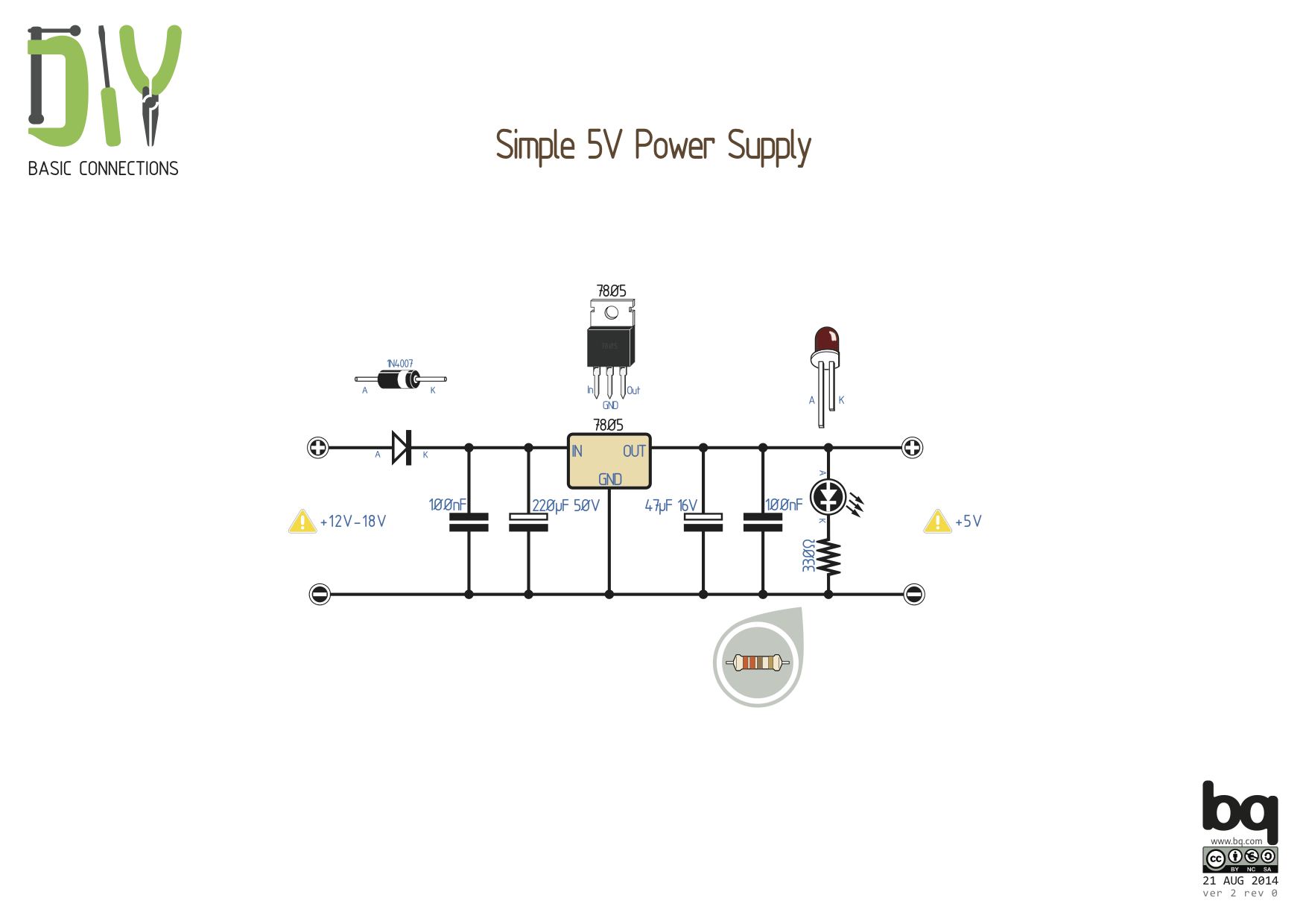 Simple 5V Power Supply | Datasheets / Pins / Connections / Circuits