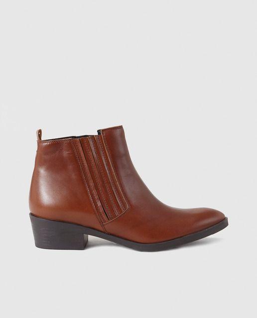 19023e6d Botines de mujer Zendra Basic de piel marrones | En mis zapatos ...
