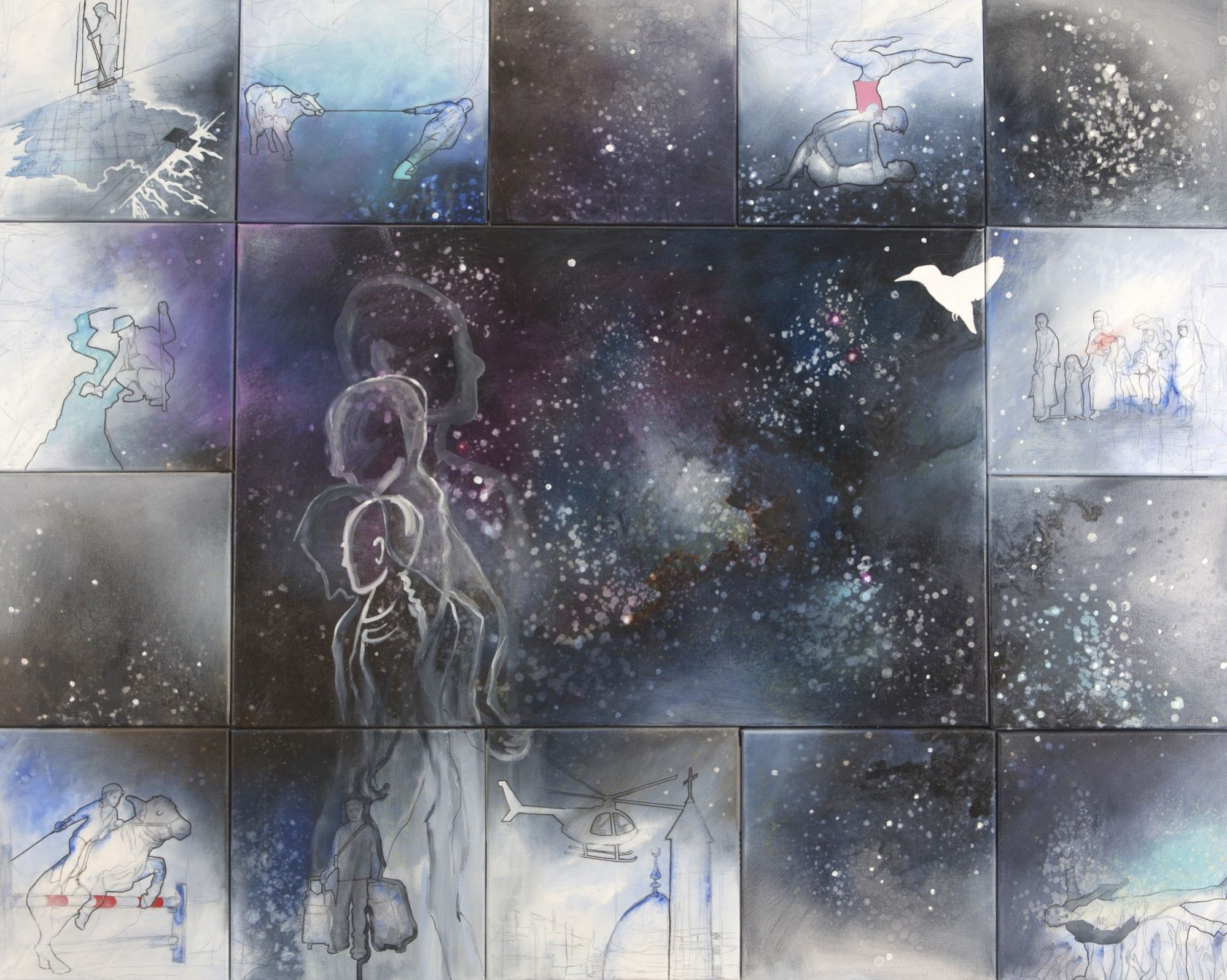 Universe, the things we do, 120 x 150 cm, mixed media on canvas