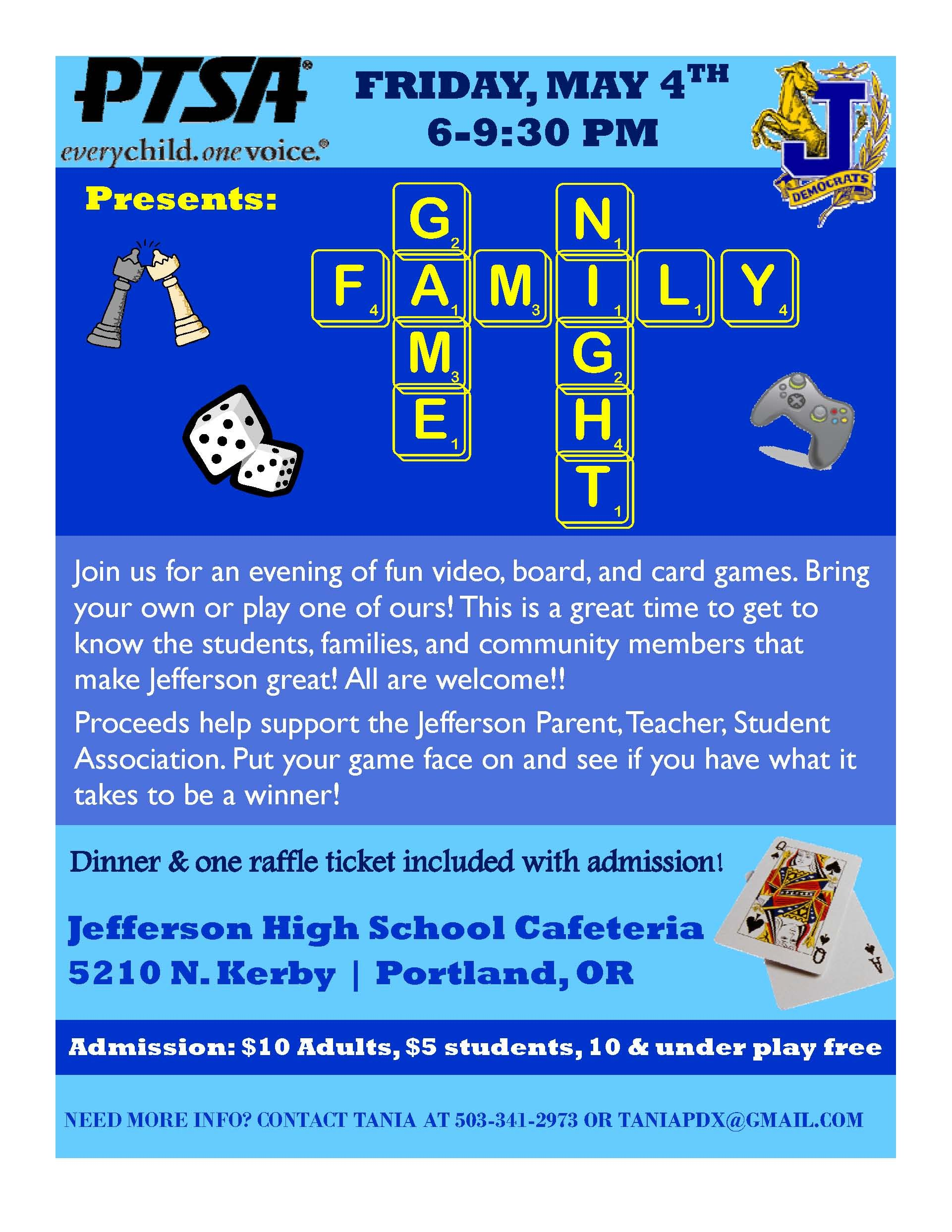 Game Night Flyer Jefferson high school, School games