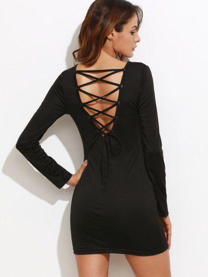 Robe moulante dos avec lacet - noir
