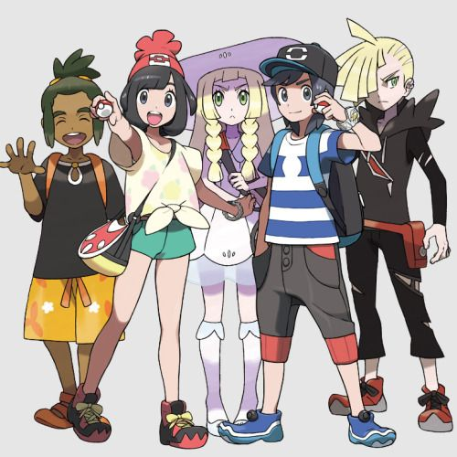 Main Characters From Pokemon Sun Moon With Images Pokemon Manga Pokemon Characters Pokemon