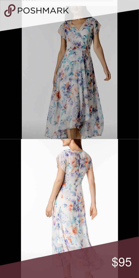 Calvin Klein Floral Print Chiffon Maxi Dress Nwt My Posh Picks