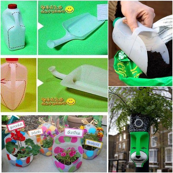 Milk bottle garden google search recykling pinterest for Gardening tools 94 cheats