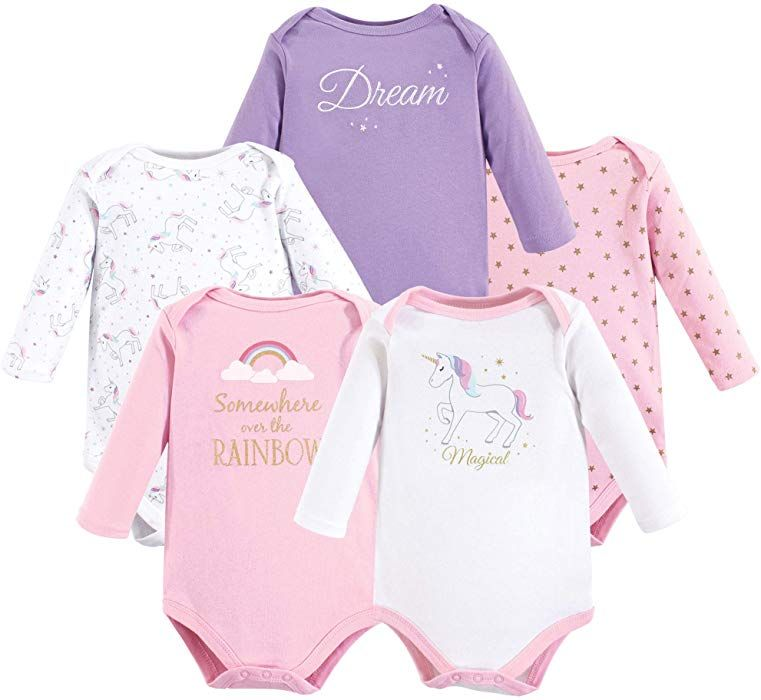 be8ca2b6aed9 Amazon.com: Hudson Baby Baby Long Sleeve Bodysuits, Magical Unicorn 5Pk,  6-9 Months (9M): Clothing