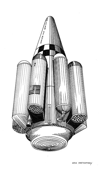 """Rombus; American SSTO VTOVL orbital launch vehicle. Bono original design for ballistic single-stage-to-orbit (not quite - it dropped liquid hydrogen tanks on the way up, heavy lift launch vehicle. In 1964, Phil Bono of Douglas Aircraft Co. proposed a low-cost heavy lift VTVL SSTO RLV plus lunar base as a logical follow-on to the Apollo project. Bono's """"Reusable Orbital Module-Booster & Utility Shuttle"""" (ROMBUS) concept was based on his patented plug nozzle rocket engine design,"""