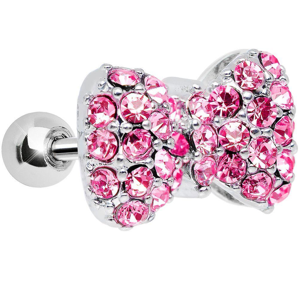 Pink Gem Sparkling Paved Bow Tragus Cartilage Earring