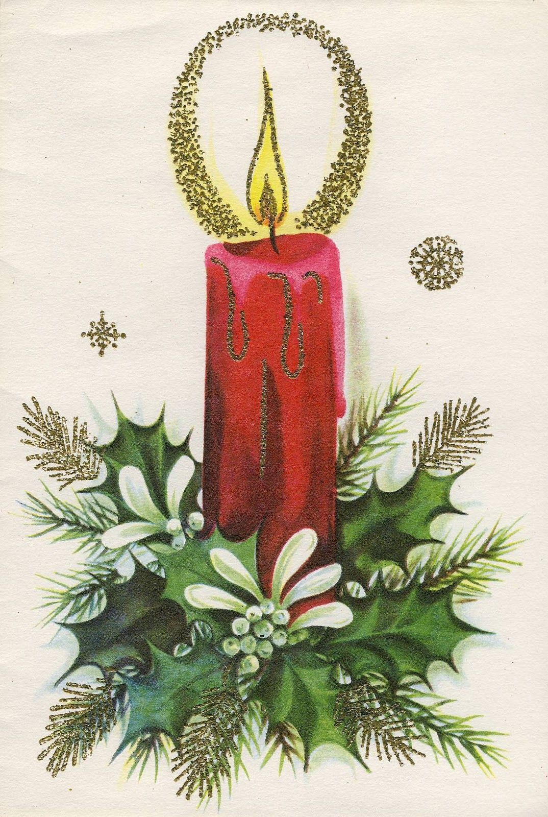 Vintage Christmas Candles.Vintage Christmas Card Christmas Vintage Bells Candles
