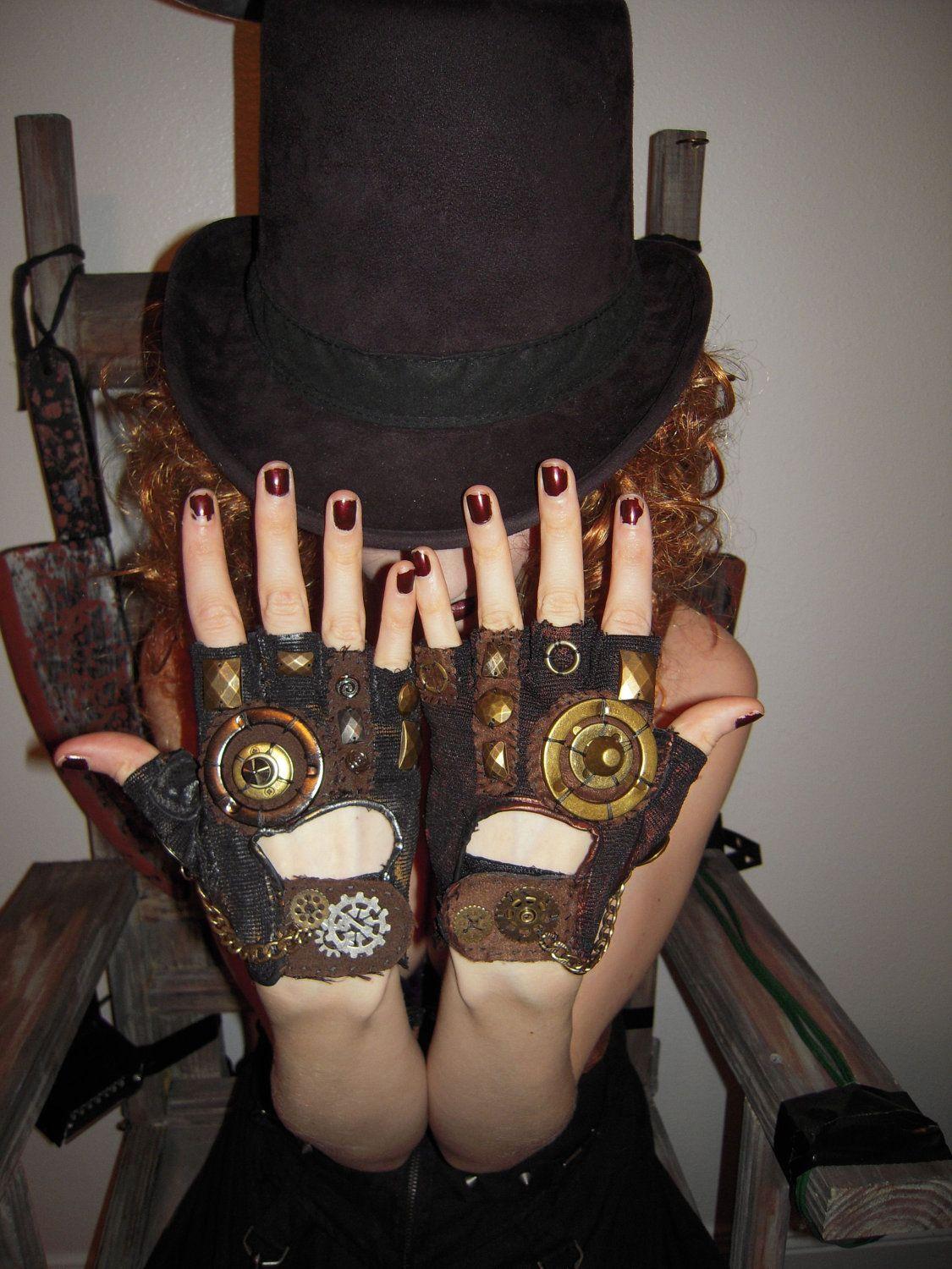 """WOMENS """"Steampunk""""- Moonhoar Monster Glove. $30.00, via Etsy."""