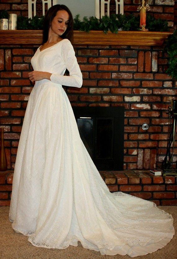 Long sleeve 50s wedding dress