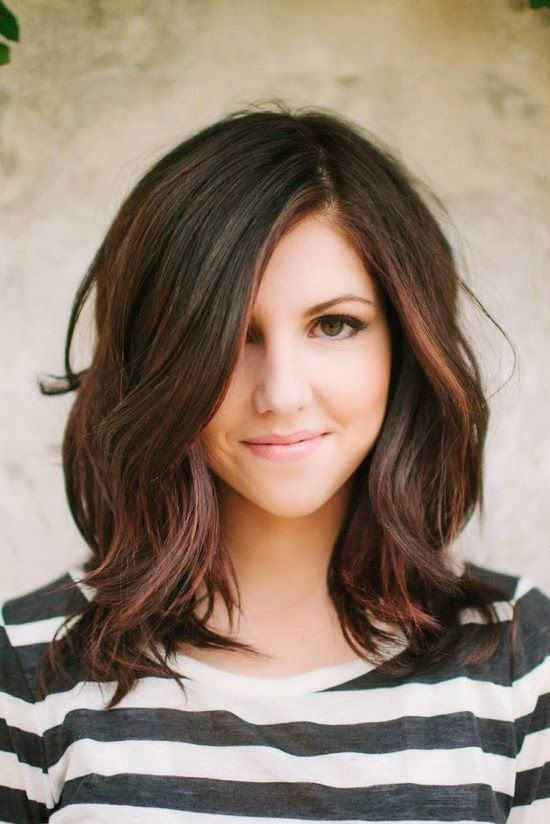 Wavy Dark Brown Long Bob With Images Hair Lengths Hair