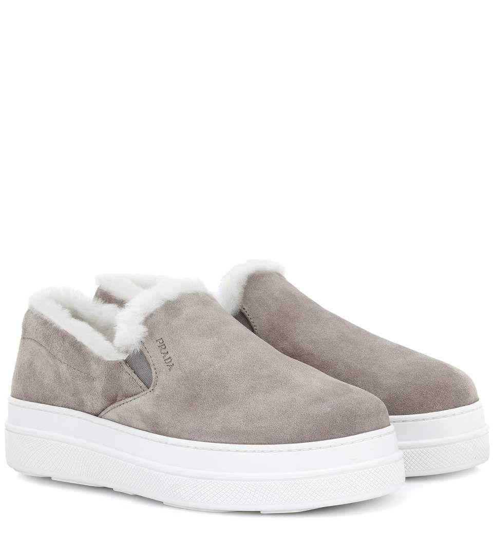 Prada - Fur-lined suede sneakers