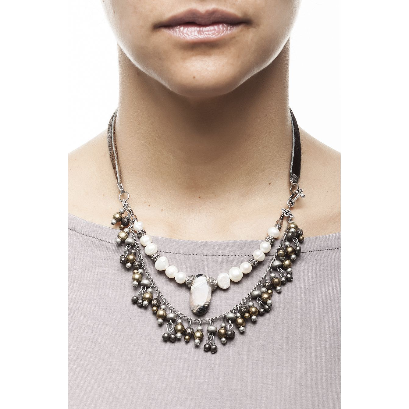 Natural pearl jasper stone and cow hide lace necklace
