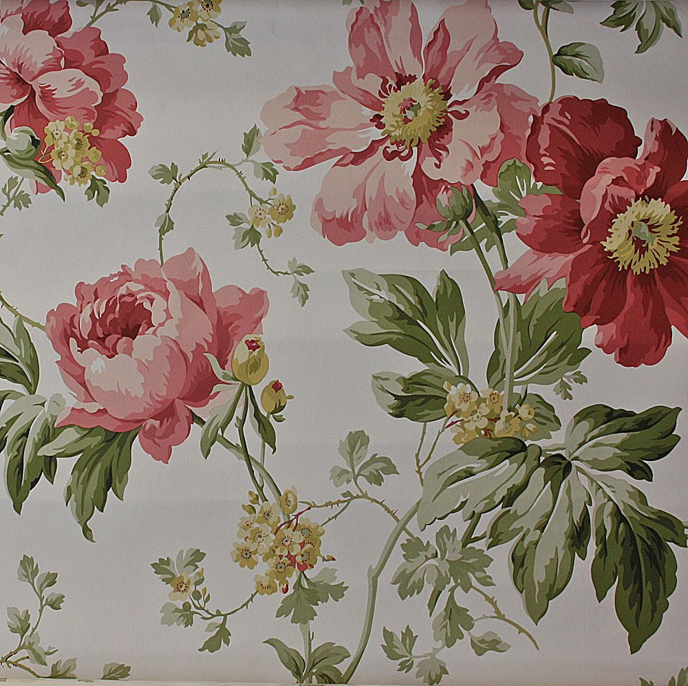Laura Ashley Tapete Peony Cranberry Purchased  Three Metre Gbp   Including Postage Of
