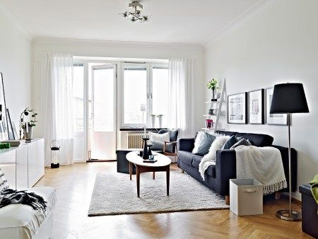 Blanco, negro y gris Salons, Living rooms and Room