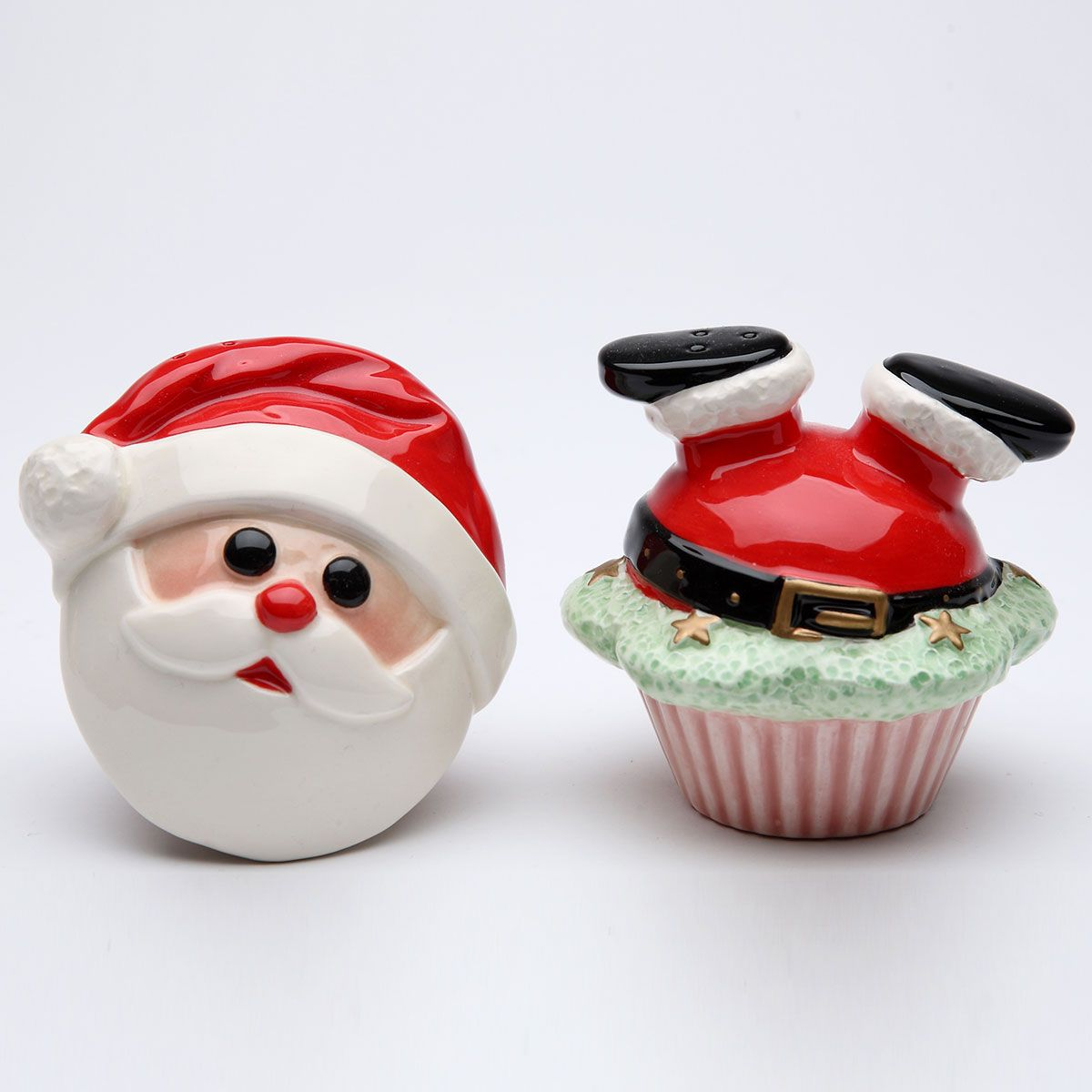 santa cupcake christmas salt and pepper shakers | pepper, tabletop