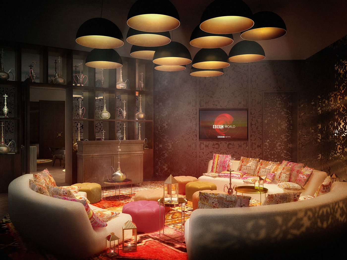 the shisha lounge of the kameha grand zurich with its. Black Bedroom Furniture Sets. Home Design Ideas
