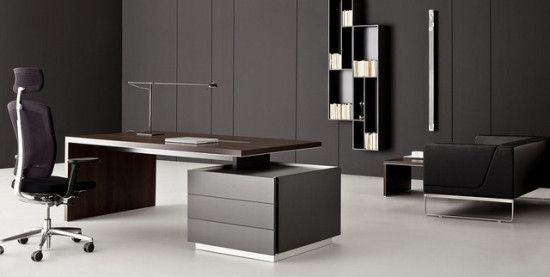 Contemporary Executive Office Furniture With Brown Modern Desk Complete Chair