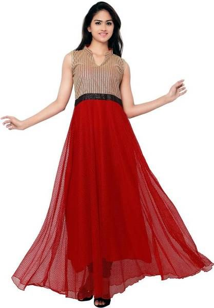 Western Gown Red & Golden Color Partywear Gown | Gowns online ...