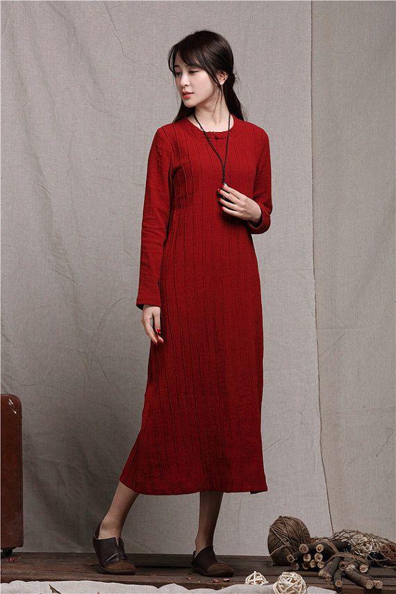 Red Linen Dress Red Dress Tunic Dress Long Linen by camelliatune