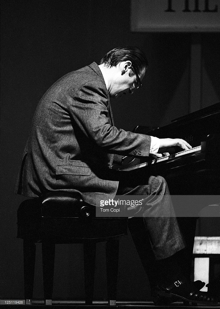 Jazz pianist Bill Evans performs on stage at the Newport Jazz    in