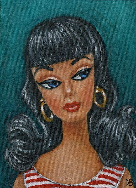 retro barbie mid century colourful acrylic painting on canvas
