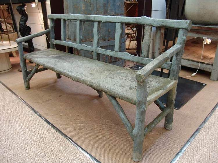 1930 French Concrete Garden Bench In Faux Bois Or U201cfake Wood.u201d This Is