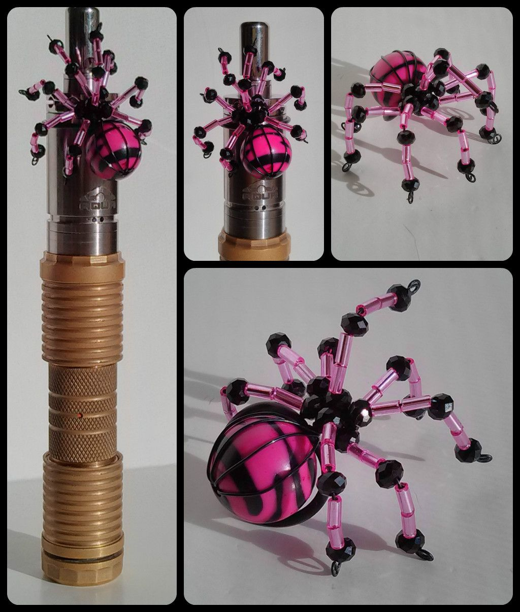 Handmade pink and black beaded wire spider tank charm. | Bead ...