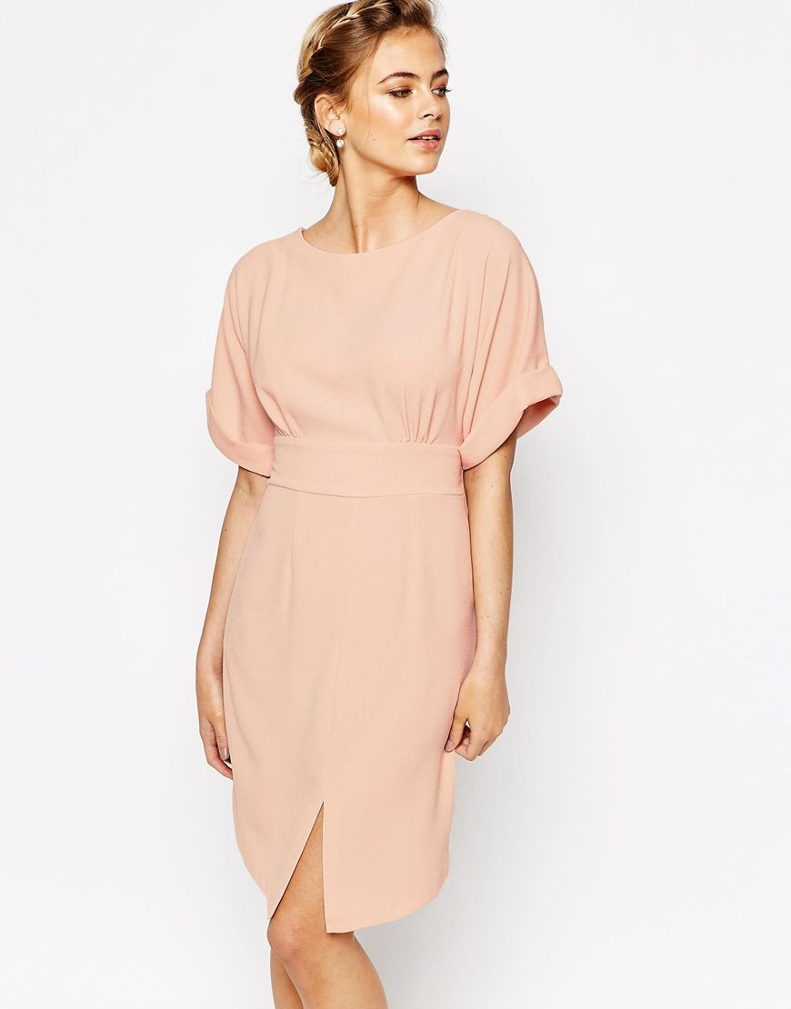 18abf6f1 Closet Kimono Sleeve Midi Dress With Tie Back Detail And Split Front | ASOS  | shopswell