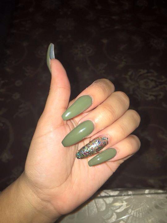 Olive Green Stiletto Nails Pinterest