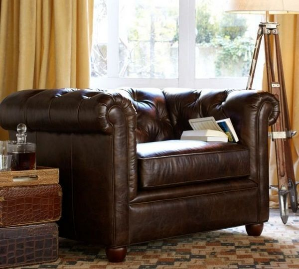 Brown leather armchair Club armchair low back rest chocolate brown