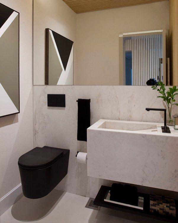 Metais e louça black no lavabo para aquele ar moderninho ...
