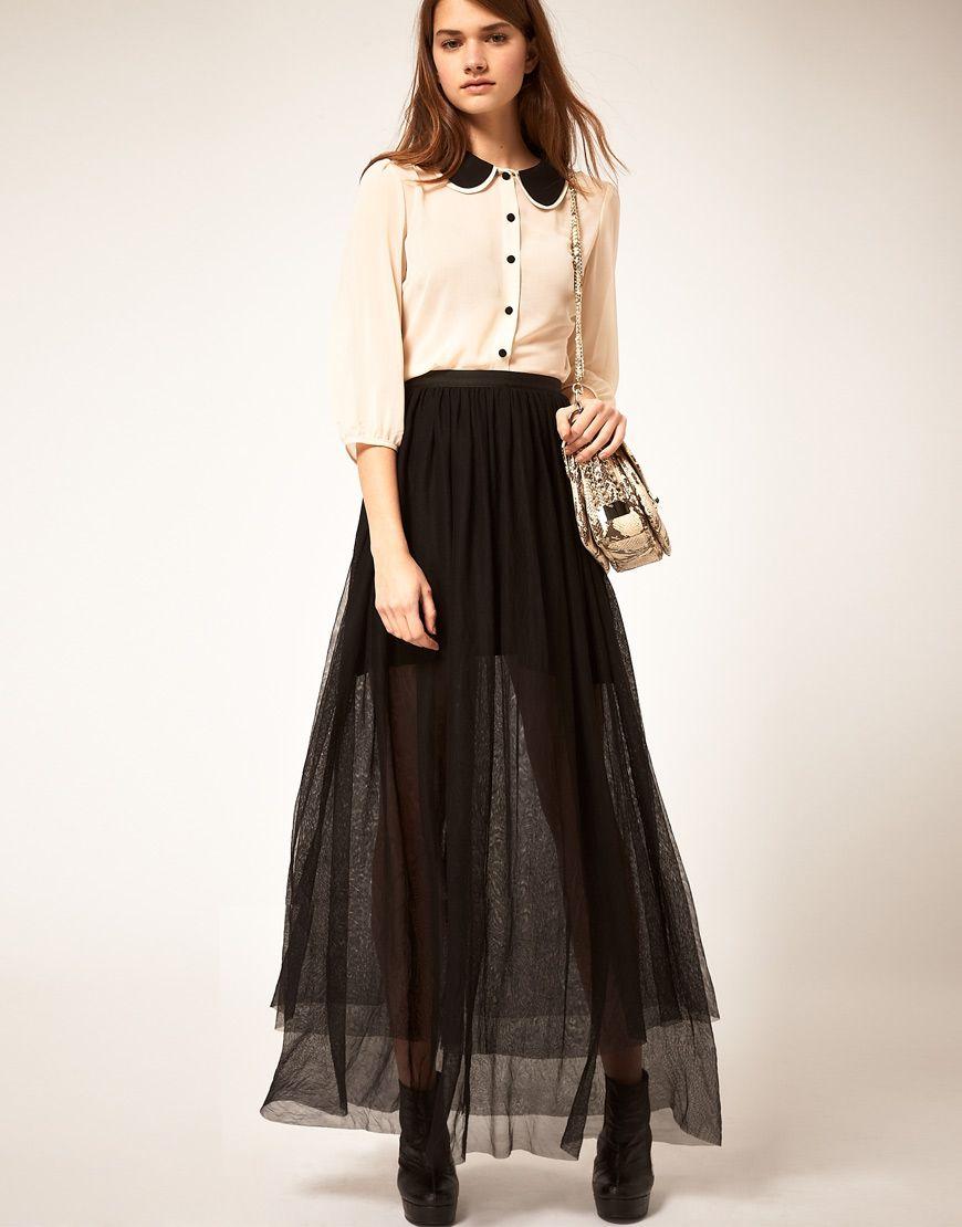 65d27ed0ce falda-larga-de-gasa-negra-transparente