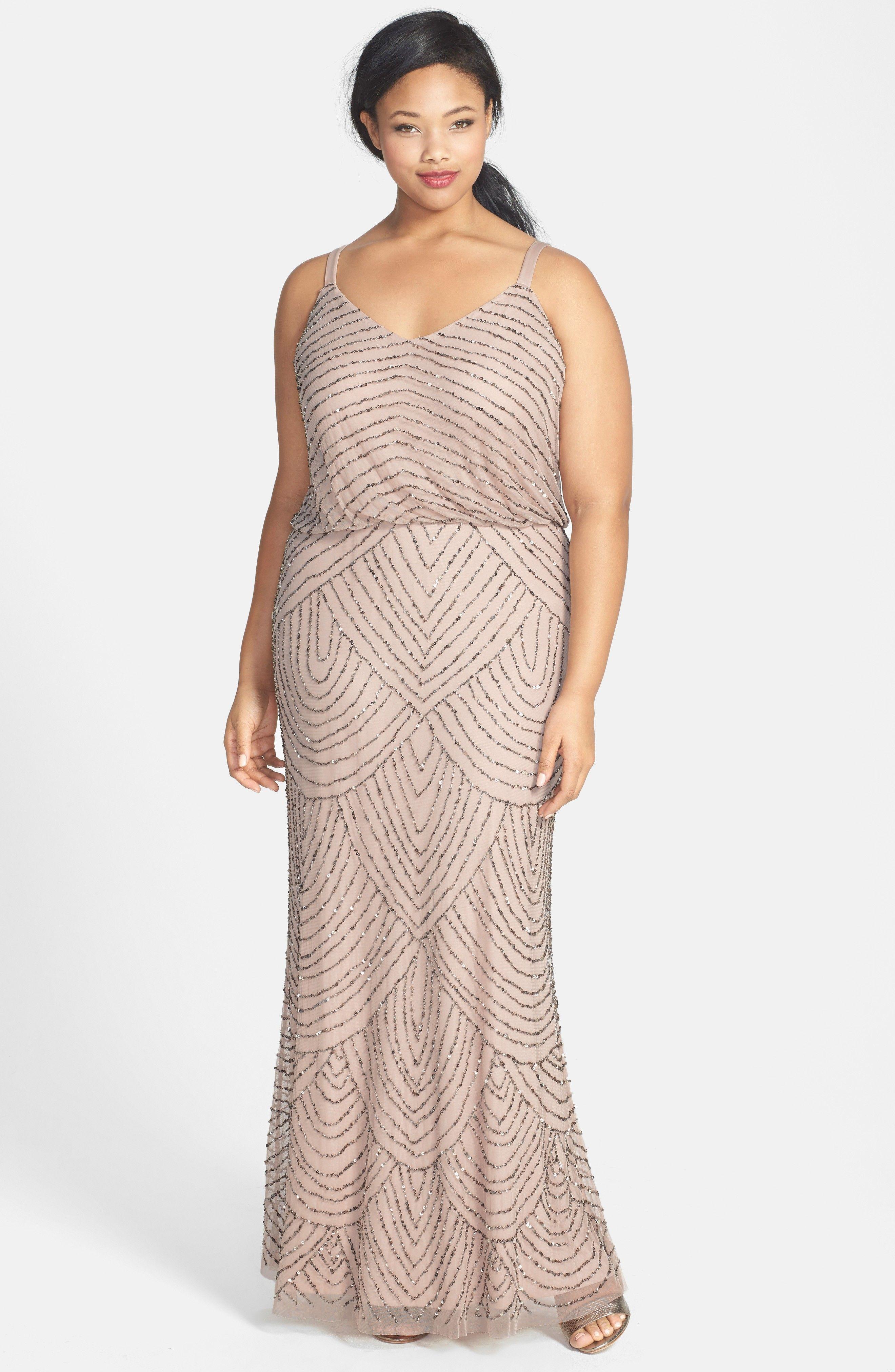 Blush Beaded Long Adrianna Papell Bridesmaid Dress - Beaded Blouson ...