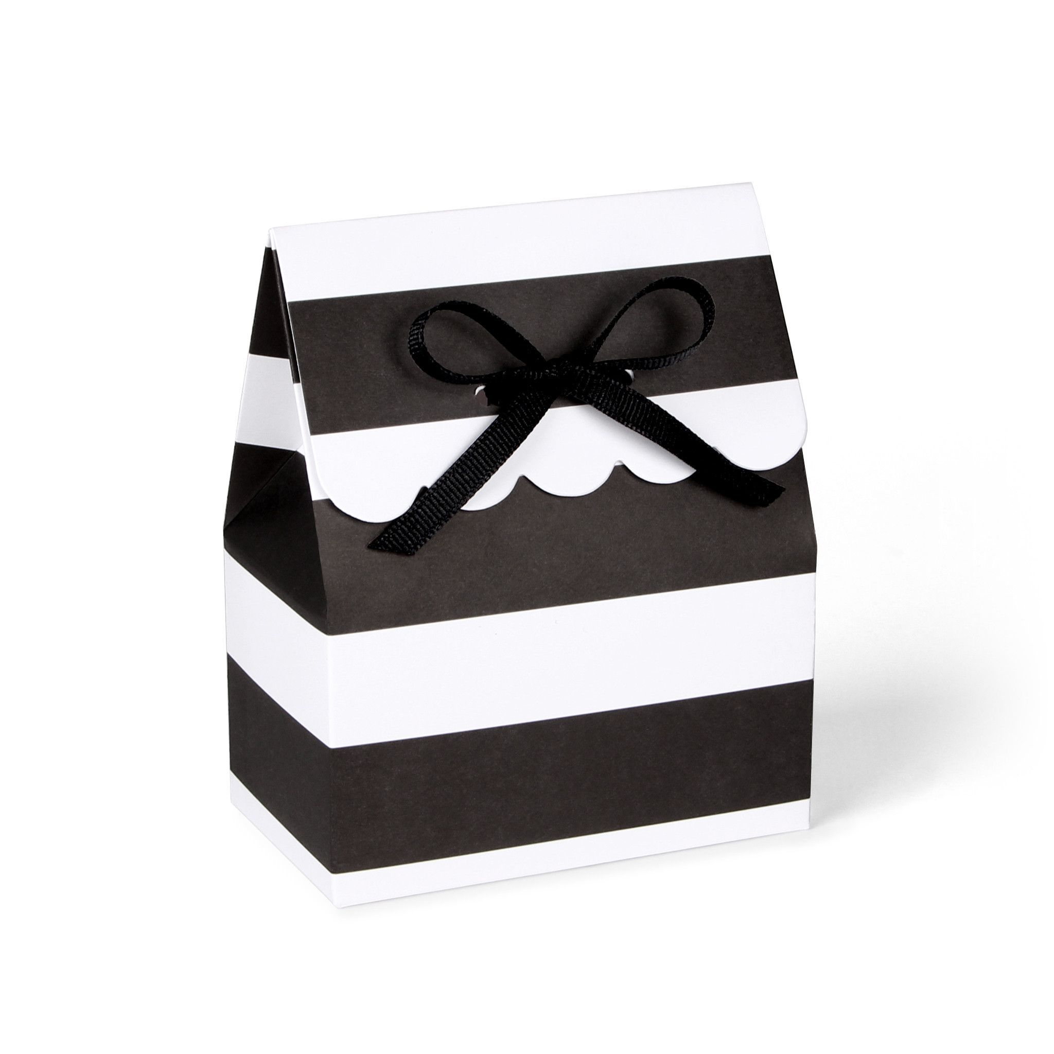 These black and white striped favor boxes with black grosgrain ...