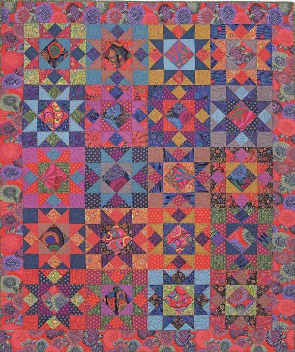 Kaffe Fassett Mardi Gras Stars Quilt Kit Pattern By Liza Prior Lucy In Kaffe Quilts Again Quilts Colorful Quilts Kaffe Fassett Quilts