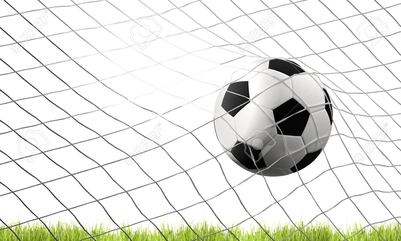 Soccer Football Ball And Green Lawn With Goal At Soccer Net 3d Illustration Affiliate Ball Green Soccer Footbal In 2020 Football Ball Soccer Photos For Sale