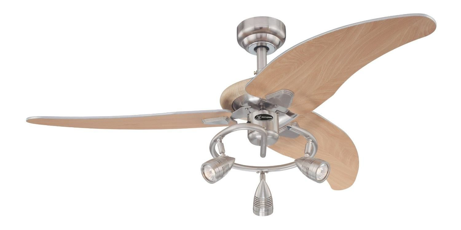 Awesome Westinghouse 7850500 Elite Three Light Three Blade Indoor Ceiling Fan,  Brushed Nickel With Three Brushed Nickel Spotlights