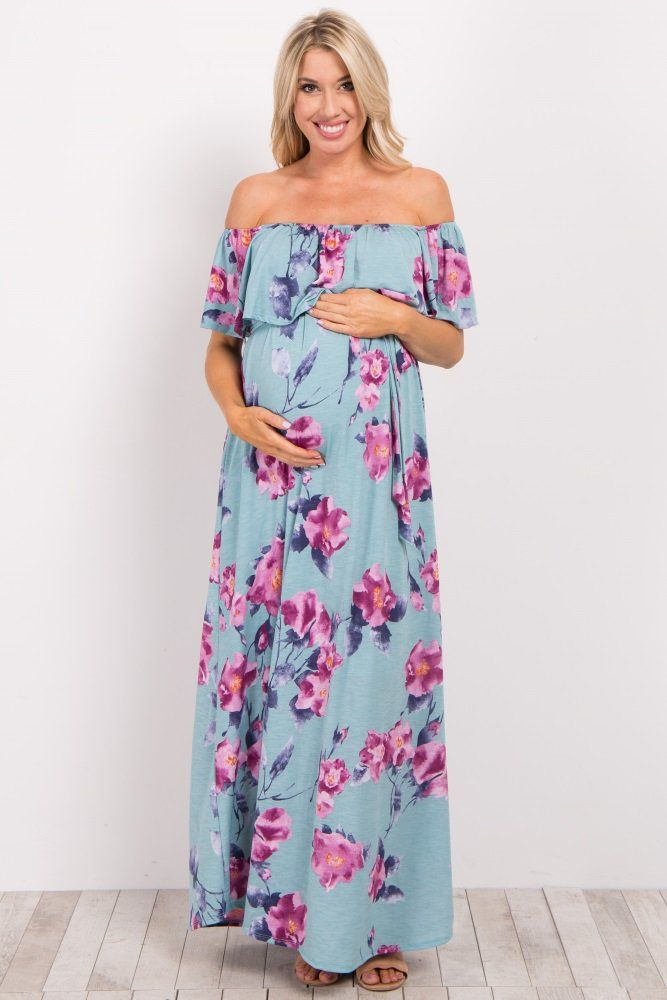 c548de2e1a7 Floral printed off shoulder maternity maxi dress. Sash tie. Cinched  neckline with ruffle trim. This style was created to be worn before