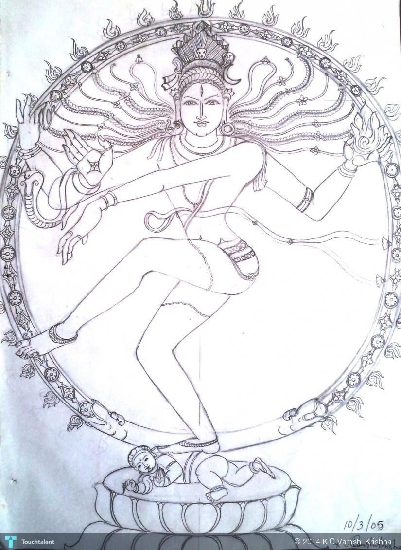Nataraja in sketching by k c vamshi krishna shiva sketch ganesha sketch kerala mural painting
