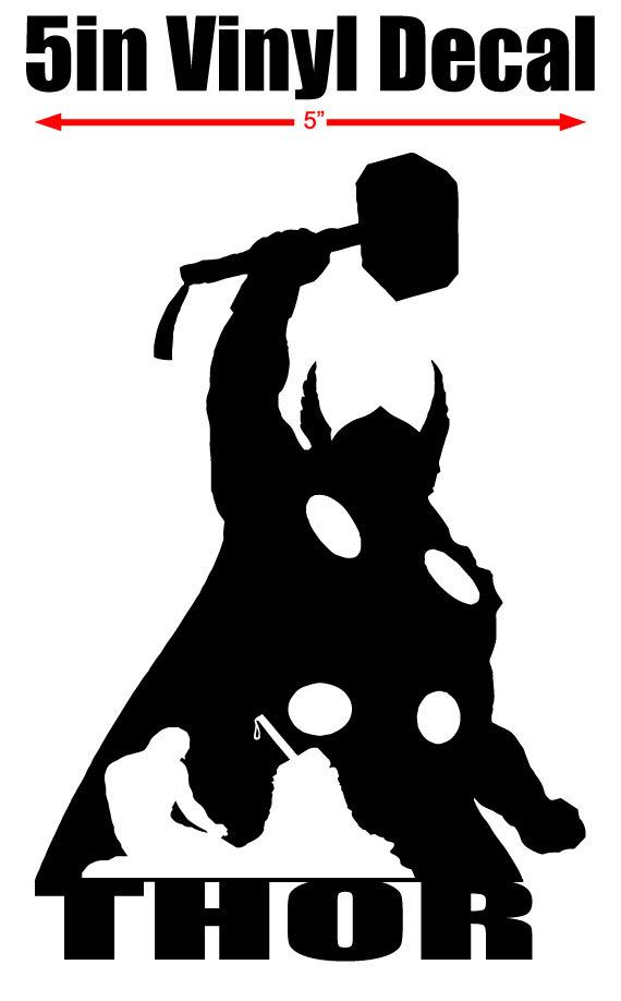 Thor Silhouette 5 Quot Vinyl Window Decal Available In