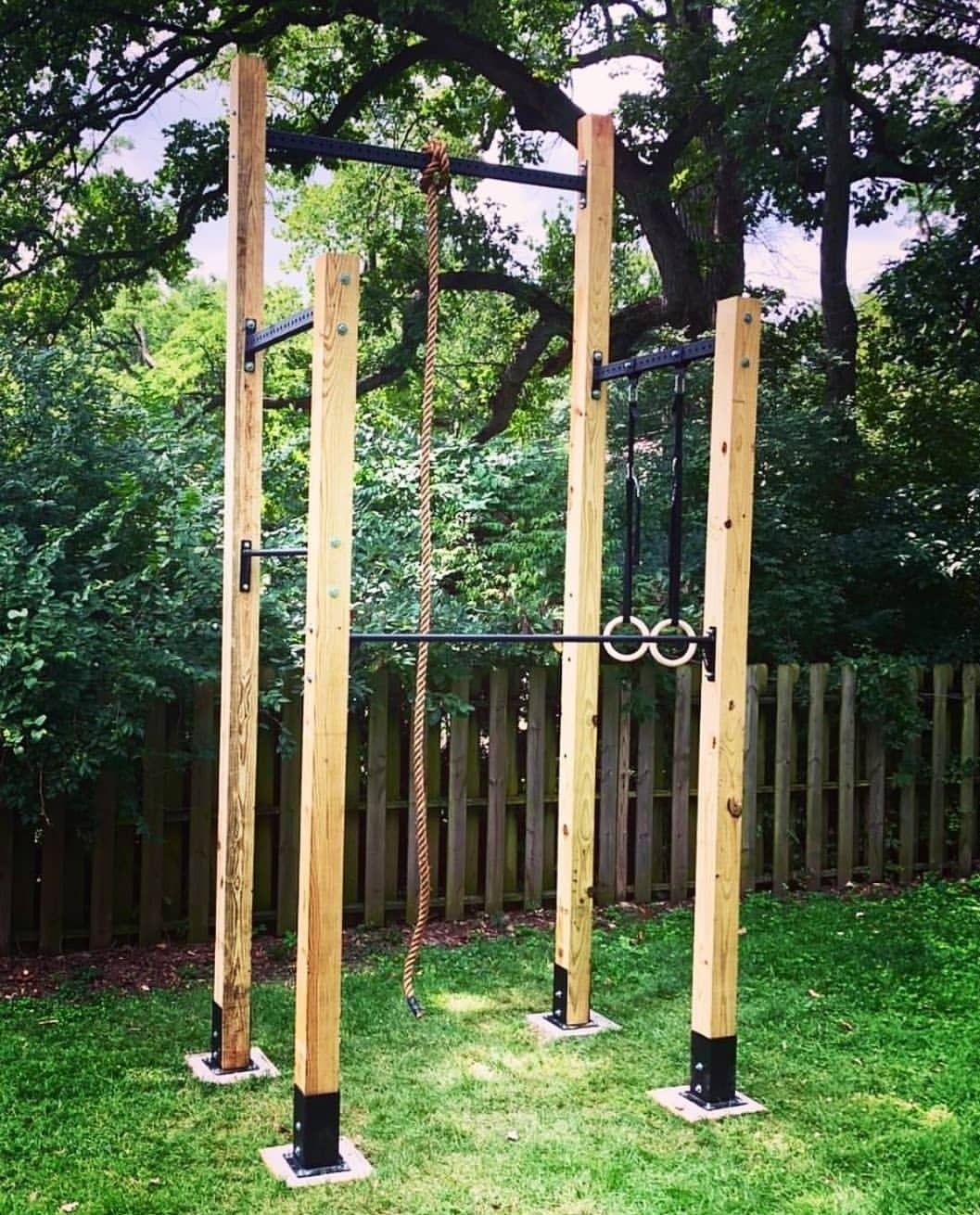 Pin On Kinder Aussengelande Backyard diy gymnastics bar