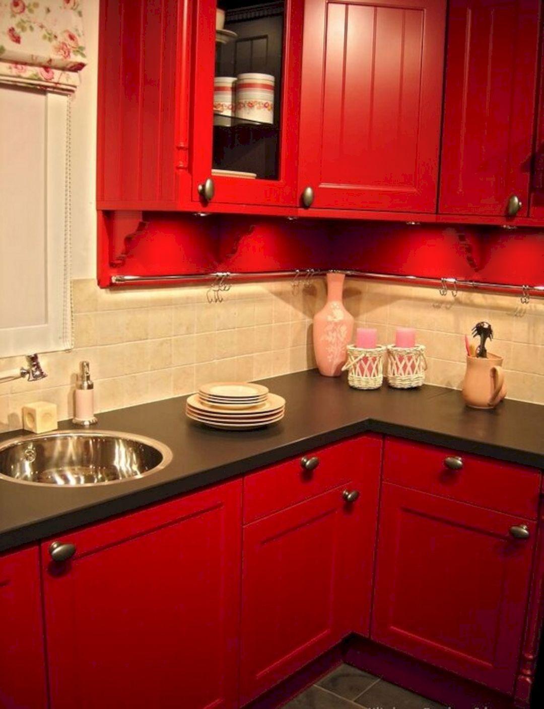 Red And Black Kitchen Ideas 21 Red Kitchen Cabinets Kitchen Design Small Kitchen Design Color