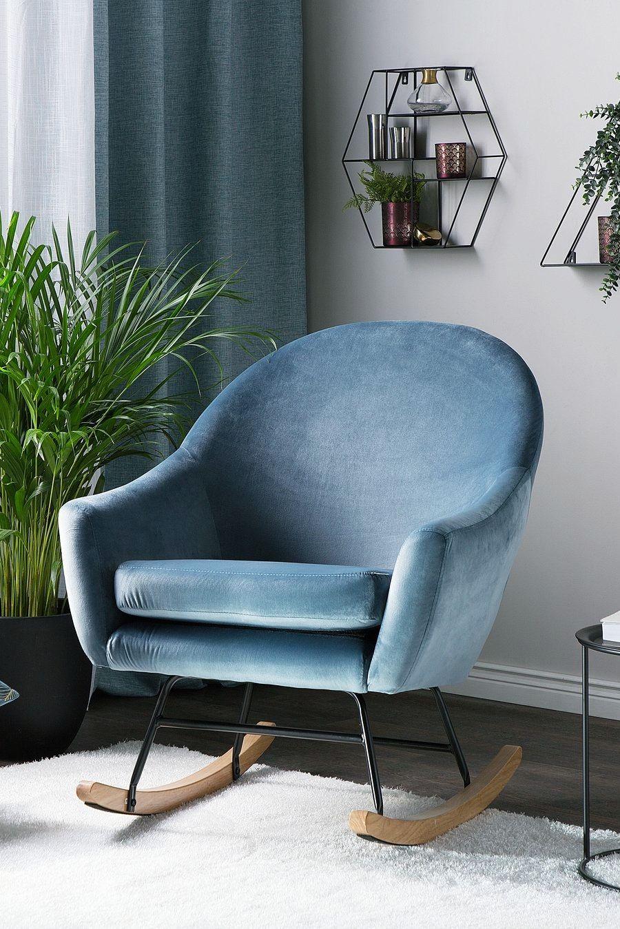 Fotel Bujany Welur Niebieski Oxie Salon In 2019 House