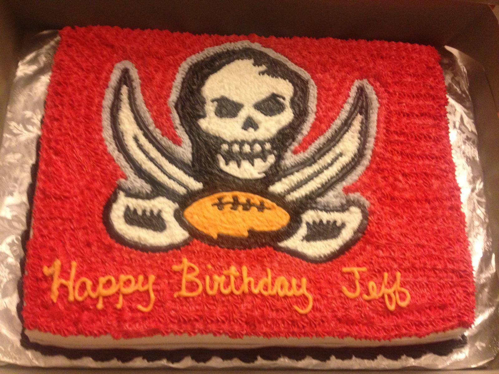 Tampa Bay Bucs Birthday Cake Vanilla Cake With Almond Cream Icing Tampa Bay Buccaneers Tampa Bay Bucs Birthday