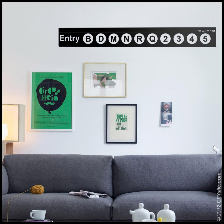 NYC : WALL DECAL - Subway Panel - Generic Entry Sign of ...